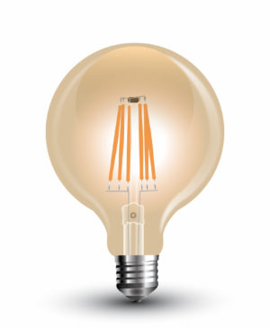 6W E27 LED žarulja filament amber cover G125