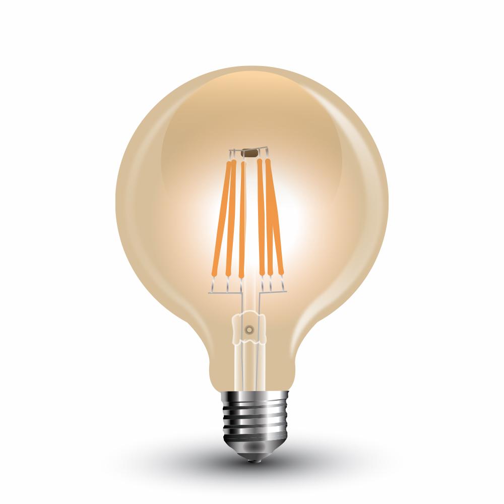 6W E27 LED žarulja filament amber cover G125